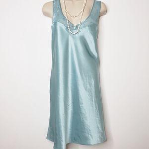 Vintage Slip Dress Expression Teal Satin 14